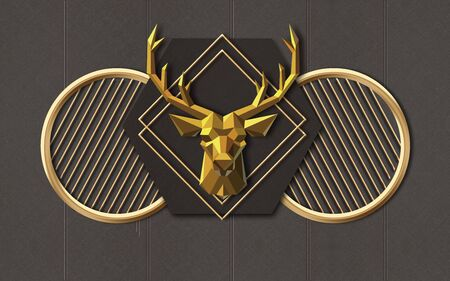 3d illustration, gray background, vertical lines, gold rings and rhombuses, polygonal deer head Stock Photo