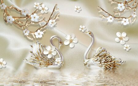 3d illustration, light fabric background, a pair of swans, white flowers on gilded branches, reflection in the water Stok Fotoğraf