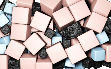 3d illustration, bright pink, blue and black cubes on a white background