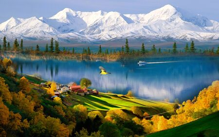 Landscape illustration, snow-capped mountains, a lake with a boat, houses on a hillside, a forest, a flying yellow bird Archivio Fotografico - 129455744