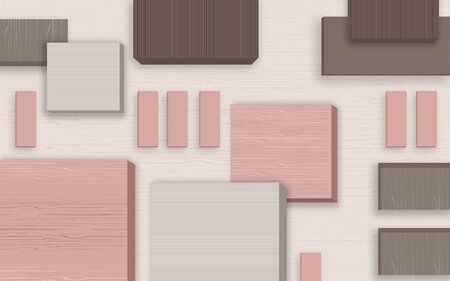 3d illustration, light background, pink, gray and brown rectangles