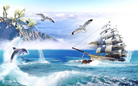 Landscape illustration, sky, sea, mountains, sailboat, reefs, seagulls, dolphin jumped out of the water Archivio Fotografico - 129455772