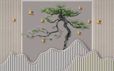 3d illustration, abstract gray background with vertical lines, curved pine tree, golden birds