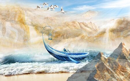 3d illustration, landscape, beige mountains, sea, blue boat with oars and a lantern, a flock of cranes in the sky