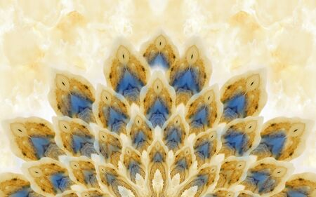 Beige marble background, abstract beige and blue peacock tail