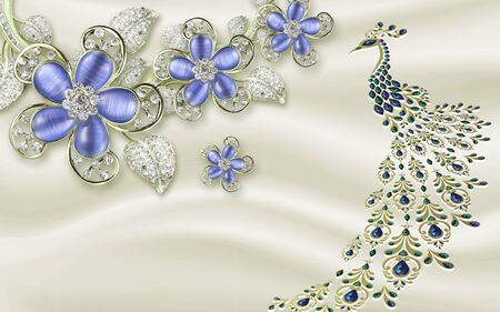 3d illustration, gray silk background, blue glass ornamental flowers, abstract peacock with a long tail
