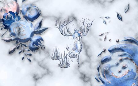 Gray marble background, large blue abstract flower buds, a fairy deer with big horns Stok Fotoğraf