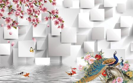 3d illustration, white background, rectangles, pink peonies, a pair of peacocks, goldfish, tree branch with pink flowers, reflection in the water Stok Fotoğraf