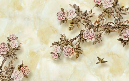 3d illustration, beige marble background, pink vintage roses on the branches