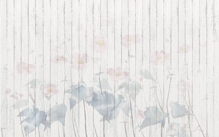 Light background, vertical boards, translucent large pink flowers with leaves