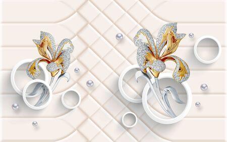 3d illustration, light beige ornamental background, white rings, pearls, abstract golden flowers
