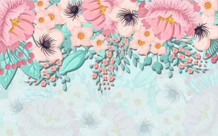 Light pastel background, large beige and pink flowers hanging from above