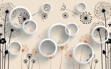 3d illustration, beige background, white rings, gray and light brown contours of dandelions with flying seeds
