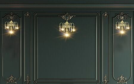 3d illustration, green wall with frames, three luminous sconces