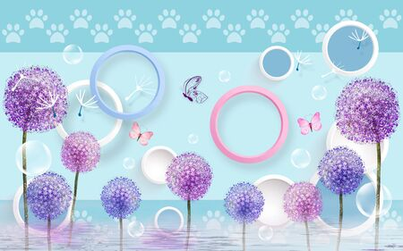 3d illustration, blue background with paws, multi-colored rings, multi-colored dandelions