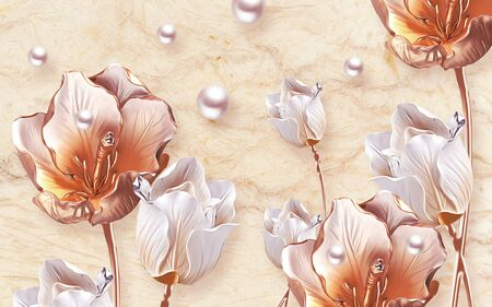 3d illustration, beige background, pearls, large bright tulips