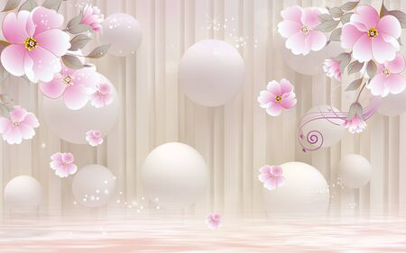 3d illustration, beige background, white balls, pink flower buds