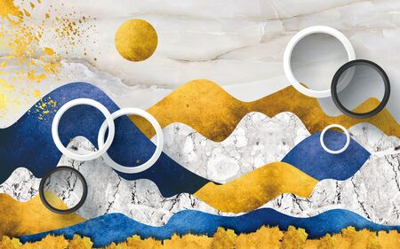 3d illustration, abstract multicolor marble background, white rings