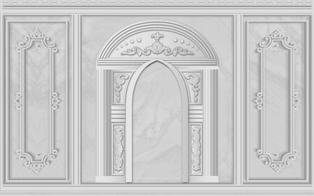 3d illustration, gray background, stucco, arches and frames 版權商用圖片