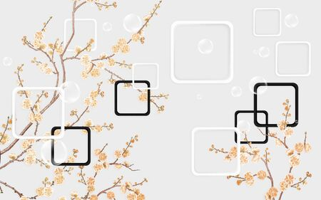 Gray background, beige flowers on branches, white and black frames with rounded corners, soap bubbles Banque d'images - 132208170