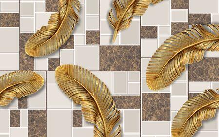 3d illustration, tiled background, large gold feathers