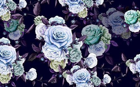 3d illustration, dark purple background, large blue and green roses