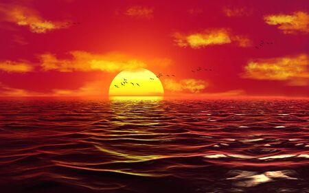 3d illustration, sea waves, flock of birds on a sunset background