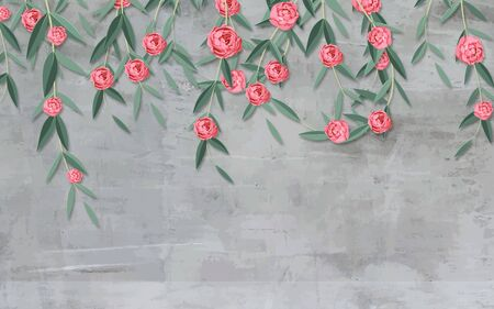 3d illustration, gray grunge background, pink curly roses hanging from above Stok Fotoğraf