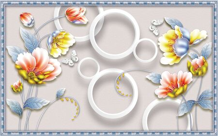 3d illustration, blue frame, texture background, white rings, large yellow and pink water lilies