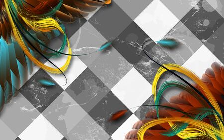 3d illustration, gray tiled background, bright long yellow, red, blue and green feathers