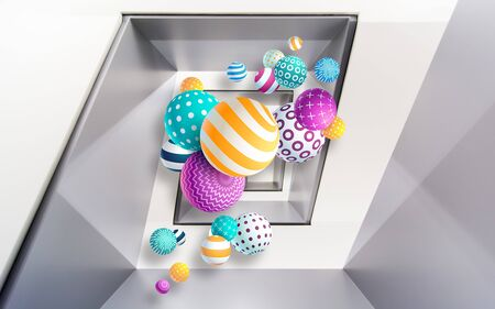 3d illustration, gray polygonal background, multi-colored balls of different sizes