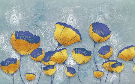 3d illustration, light blue background with peacock feathers, large yellow poppies