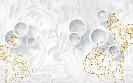 3d illustration, white ornamental background, white rings, golden contours of roses Stok Fotoğraf