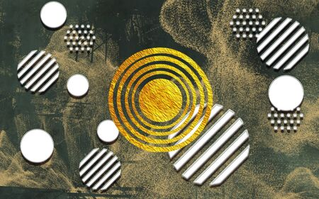 3d illustration, dark spotted background, geometric abstraction from white and a gold circle
