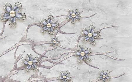 3d illustration, gray marble background, gray glass flowers with crystals on abstract branches Stok Fotoğraf