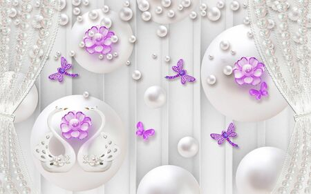 3d illustration, white background with vertical stripes, white pearls, curtains, a pair of swans, purple abstract flowers, butterfly and dragonflies