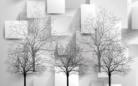 3d monochrome illustration, rectangles, black and gray contours of trees without leaves