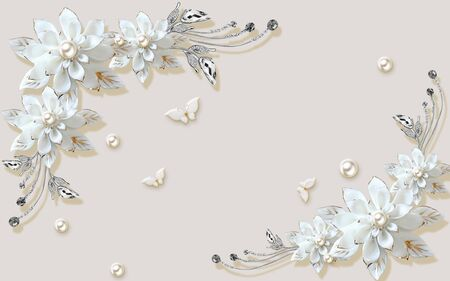 3d illustration, beige background with embossed butterflies, pearls, large white ornamental flowers Stok Fotoğraf