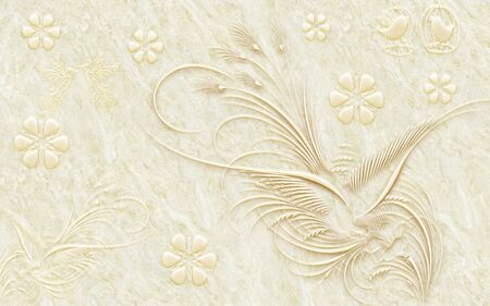 3d illustration, beige marble background, ornamental abstract flowers and birds.