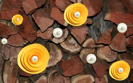 3d illustration, dark wooden logs, white pearls, large yellow abstract flowers