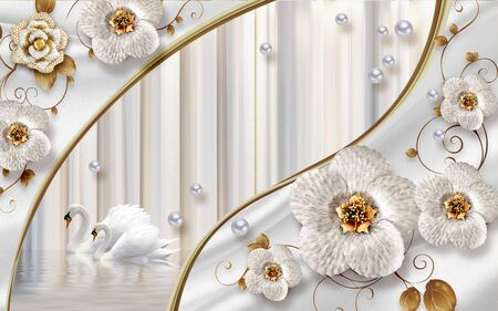 3d illustration, light background, vertical stripes, a pair of swans on the water, wave-like lines, large gray fabulous ornamental flowers