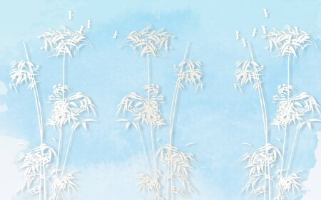 Bright blue background, white bamboo and dragonflies