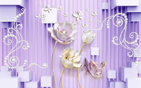 3d illustration, lilac background, vertical stripes, cubes, large light roses, white paper butterflies, pearls Stok Fotoğraf