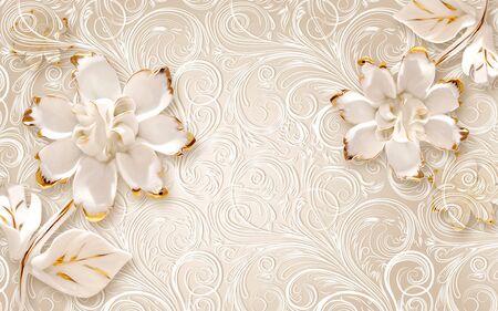 3d illustration, beige ornamental background, large white abstract gilded flowers Stok Fotoğraf