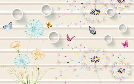 3d illustration, beige background with horizontal stripes, white rings, multi-colored contours of dandelions with flying seeds, multi-colored butterflies
