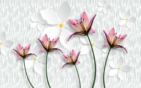 3d illustration, white texture background, white abstract paper flowers, large purple magnolias