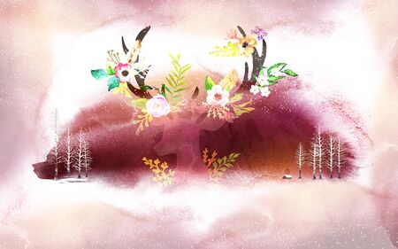Grunge background, purplish red spot with a translucent deer head and white trees