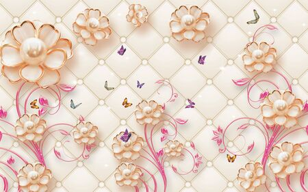 3d illustration, beige background, upholstery, abstract gilded flowers with pearls on pink ornamental stems, multi-colored butterflies Stock Photo