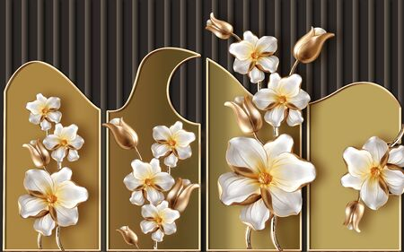 3d illustration, brown background with vertical stripes, beige panels, white gilded fabulous flowers