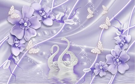 3d illustration, purple silk background, large flowers with pearls, white butterflies, a pair of white ceramic swans, reflection in the water